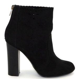 """Bamboo """"Scenery"""" Black Suede Ankle Boot"""